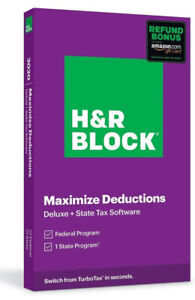 H&R BLOCK TAX SOFTWARE 2020 DELUXE FEDERAL+STATE  NEW