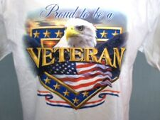 Gildan White Large T-Shirt Proud to be a Veteran Eagle Flag Patriotic Cotton