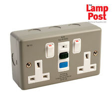 EUROPA rcd13amc Metalclad RCD 2 double twin gang socket switched 13amp 30ma
