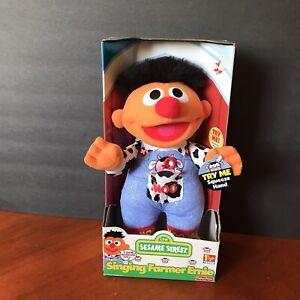 Vtg 90s Fisher Price Singing Farmer Ernie 1999 Sesame Street Stuffed Plush Toy
