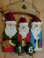 HOLIDAY SANTA AND FRIENDS COUNTDOWN DAYS TILL CHRISTMAS PAINTED WOOD HANGING