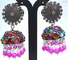 Indian Jhumka Kundan Style Earrings b Antique Silver Plated Magenta Multi Bead