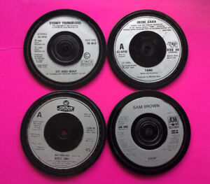 4 Quality, Hand Crafted, Genuine 1980s Retro Vinyl Silver Record Coasters