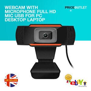 Webcam With Microphone Full HD MIC USB For PC Desktop Laptop UK Stock Genuine