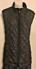 Chicos Black Metallic Quilted Sleeveless Full Zip Vest Size 3 (L-16) Pollyester
