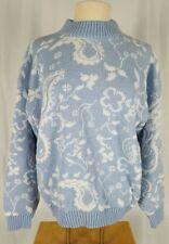Kawaii Fairy Kei Vintage Sweater Pastel Blue White Metallic Glitter 80s Floral