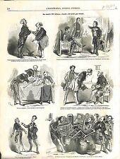 Caricature Ministre Arlequin Chef Bureau Monarchie de Juillet Paris GRAVURE 1848