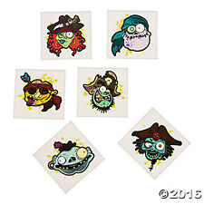 36 Assorted Zombie Pirate Kids Temporary Tattoos Party Favors
