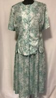 BLAIR Womens Size 18W Two Piece Set White Mint Floral Print