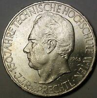 1965 Austria 25 Schillings Commem Brilliant 150 Years Technology UNC Silver Coin