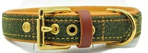 Green Tweed on Tan leather dog collar with solid brass hardware