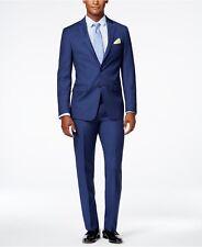 $835 CALVIN KLEIN Men Extreme Slim X Fit Wool Suit Blue 2 PIECE JACKET PANTS 46R