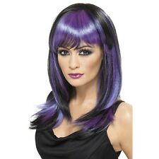 Women's Girls Purple & Black Glamour Witches Wig Halloween Witch Fancy Dress Fun