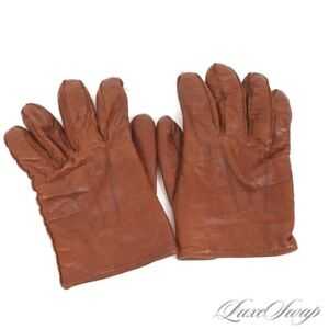 Coach Made in Italy Saddle Tan Soft Leather 100% Cashmere Lined Winter Gloves M