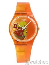 New Swatch Orange Bloody See-Thru Dial Women Plastic Band Watch 34mm GO116