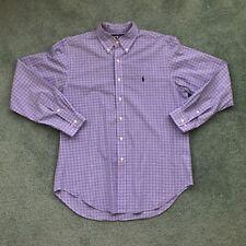 Ralph Lauren Men's Blue Plaid Long Sleeve Button Front Shirt Size 16 1/2 Classic
