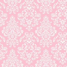 WALLPAPER BY THE YARD Pink White Damask Wallpaper | Babies Kids Tween Damask Wal