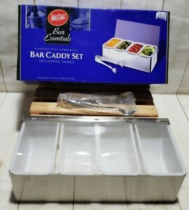 TableCraft Bar Essentials Stainless Steel Bar Caddy Set w/Tongs (4) Trays *New*