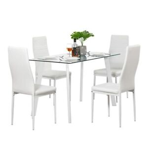 Dining Table Set,Family dining table,Tempered Glass with 4 Chairs,Kitchen table