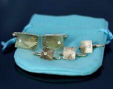$7500 Vintage Tiffany & Co Sunburst 14K Yellow Gold Diamond Shirt Stud Cuff Link