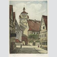Adrianus van Zeegen: Weißer Turm in Rothenburg. Farbradierung