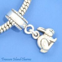 Easter Bunny Rabbit 925 Solid Sterling Silver European Dangle Bead Charm Euro