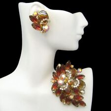 Vintage High End Fruit Salad Brooch Pin Earrings Art Glass Rhinestone Juliana