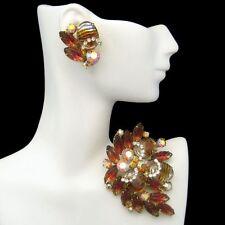Vintage High End Fruit Salad Brooch Pin Earrings Art Glass Rhinestone Juliana