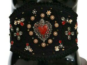 DOLCE & GABBANA Belt Black Gold Crystal TORERO Leather Wide Waist s. L