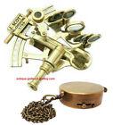 "Antique Brass 5"" Sextant J.Scott London Nautical Sextant With 1.5"" Compass Combo"