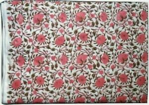 Indian Hand Block Print Cotton Fabric Floral Print Fabric 5 Yard Boho  Craft