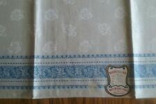 """UNUSED VINTAGE 35"""" LINEN DAMASK TABLECLOTH ~ MADE IN CZECHOSLOVAKIA ~ BLUE PLAID"""