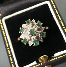 Women's Vintage 18ct Gold Ring Emerald & Diamond Stones Size O Weight 5.5g