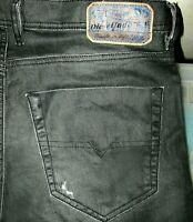 *HOT Men's DIESEL @ TEPPHAR 0R5Q6 Slim SKINNY STRETCH BLACK COATED Jeans 30 x 32