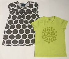 Mini Boden Lot of 2 Girls Size 5 6 Years Brown Polka Dot Yellow SS Shirt Top