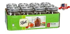 Ball Regular Mouth Clear Glass Mason Jars 16oz Pint Canning Preserve Lids 12 Set