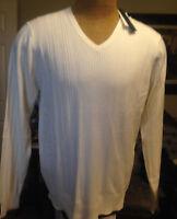 DILLARD'S PERRY ELLIS Vanilla V-Neck Mens Knit Sweater NWT F-902 Ret $69.50