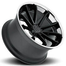 "4ea 22"" Staggered Blaque Diamond Wheels BD-23 Gloss Black with Chrome Rims (S5)"