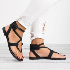 New Women Gladiator Rome Sandals Shoes Thong Flops T Strap Flip Flat Strappy Toe