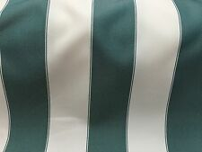 Hunter Green / Ivory 600 Denier Striped Waterproof Outdoor Fabric - Sold By Th
