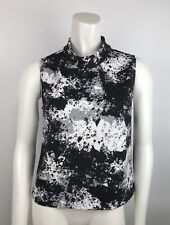 Vince Camuto Women's Blouse High Kneck Black White Business Career Sz S