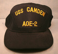 USS Camden Hat Navy Military AOE-2 Baseball Cap Vintage Size Large