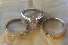 Cubic Zirconia Engagement Band Wedding Ring 3 Pc Set  Size 7 Silver