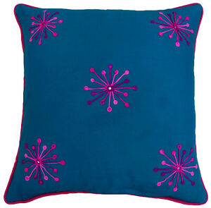 S4Sassy Cotton Floral Embroidered Blue Pillow Cover Square Cushion-3wH