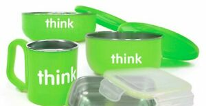 Thinkbaby BPA Free Feeding Set (Light Green) (partial set missing items and box)