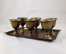 Antique Vintage Tiny Brass Goblets+Tray Egyptian Style Design India? Passover?
