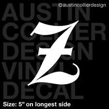 "5"" LETTER ""Z"" vinyl decal car truck window laptop sticker - initials name"