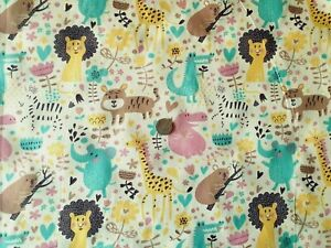 ANIMALS PRINTED AND WHITE PLAIN POLYCOTTON KNIT FABRIC-3 VARIATION-SOLD BY METER