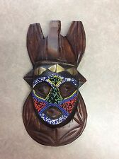 Hand Carved African Tribal Mask Wooden Beaded Art Wall Hanging ~ Beautiful Piece