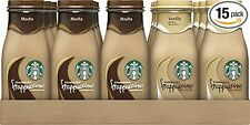 15 Pack Starbucks Frappuccino Mocha and Vanilla Flavors 9.5 Ounce Glass Bottles